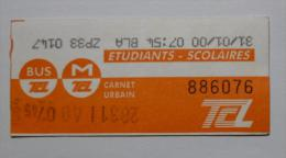 Ticket TCL Lyon (69/Rh�ne) - Bus M�tro - carnet urbain - ETUDIANTS SCOLAIRES / orange ( oblit�r� en 2000 )