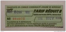 Ticket CGFTE Bordeaux (33/Gironde) - Bus Transports en Commun Communaut� Urbaine Bordeaux - Tarif r�duit