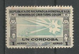 Hommage A La Mémorie De Christophe Colomb 1c Noir Et Blue Clair* - Nicaragua
