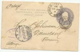 Argentina 1897. Tarjeta De 6 Centavos. Rosario Por Buenos Aires A Düseldorf. - Cartas