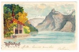 AK Durscheinkarte Schweiz Tellskapelle Litho Gebr. Metz Ges. 22.5.1900 - Contre La Lumière