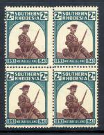 SOUTHERN RHODESIA, 1943 Hat Brim Retouch In Block Of 4 UM (MNH), SG61a, Cat £25+ - Gebraucht