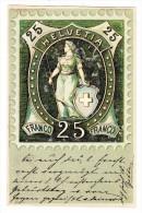 AK Motiv Briefmarken - Stehende Helvetia 25Rp. Grün - Meteor Karte Gebr. Metz Ges.2.9.1899 Frauenfeld - Timbres (représentations)
