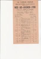 HORAIRE TRANSPORTS -LA FLECHE D'AZUR- NICE - AIX - AVIGNON - LYON - 1936 - Europe