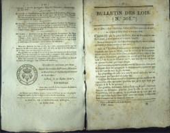 Bulletin Des Lois N°301 - 14 Juillet 1829 - Service Des Postes Par Voie De Mer - - Wetten & Decreten