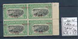 BELGIAN CONGO 1922 ISSUE COB 100aCU SURCHARGE CARMIN RENVERSEE BLOC DE 4 (3 X XX + 1 X X)