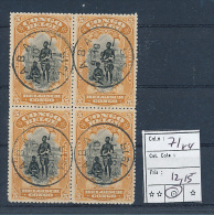 BELGIAN CONGO 1915 ISSUE COB 71 BLOCK OF 4 USED ABA 01.09.1916