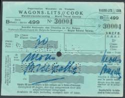 QX812 BELGIUM Wagon Lits/Cook 2nd Cl Ticket 1938 - Railway