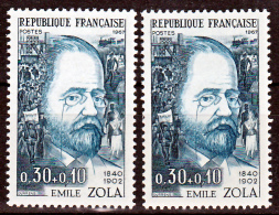 France 1511 Variété Cheveux Personnages Noirs Et Normal Zola Neuf ** TB MNH Sin Charnela - Errors & Oddities