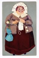 AK Motiv Materialkarte Strickende Grossmutter In Stoff - Cartes Postales