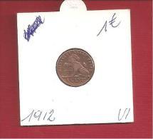 Albert I - 1 Centiem 1912 VI - 1909-1934: Albert I