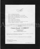 Doodsbrief / Charles Joseph Lambert / Chevalier De L'Ordre De La Couronne / Uccle / Ukkel / 1943 - Religione & Esoterismo