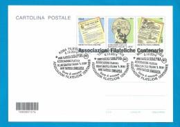 CODICE A BARRE 2014 INTERO POSTALE CARTOLINA ASSOCIAZIONI FILATELICHE CENTENARIE - TUTTI E TRE GLI ANNULLI DEDICATI - Stamped Stationery