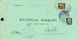 14441. Carta Impresos  FONTANELLA (bergamo) 1940 A Monza (Milano). Emigrazione - 1900-44 Vittorio Emanuele III