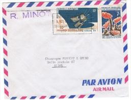 COL-L29 - NOUVELLE CALEDONIE N° 322 + PA 87 Sur Lettre Par Poste Aérienne Pour Reims 1967 - Luftpost