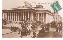 PARIS-1911-Le Palais De La Bourse (Brongniart)-Attelages-Fiacres-Chevaux-Diligence Vers Passy-Belle Photo - Frankrijk