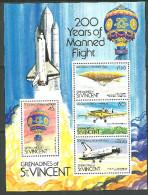 St.Vincent & Grenadines, Bloc Feuilles Neufs Sans Charniére, Petit Tache, MINT NEVER HINGED, LITTLE SPOT, MANNED FLIGHT - St.Vincent & Grenadines