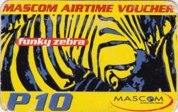 Botswana, P10, Mascom Airtime Voucher, Funky Zebra,  Expiry 2-11-2004, 2 Scans. - Botswana