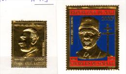 Mali, Charles De Gaulle, Gamal Abdel Nasser Sur Feuille D'or, PA 113 Et 114**, Cote 90 € - De Gaulle (Général)