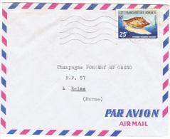 COL-L25 - COTE DES SOMALIS N° 313 Sur Lettre Par Poste Aérienne Pour Reims Thème Coquillages - Lettres & Documents