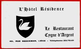 Calendrier Publicitaire 1965 Hôtel Résidence - Restaurant CYGNE D'ARGENT Rue Beeckman LIEGE Vanosmael-Jeandon - Calendriers