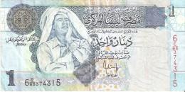 BILLETE DE LIBIA DE 1 DINAR DEL AÑO 2004 (BANKNOTE) GADAFI - Libia