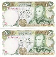 PAREJA CORRELATIVA DE IRAN DE 50 RIALS DEL AÑO 1974 CALIDAD EBC (XF)  (BANKNOTE) - Irán