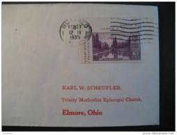 Buffalo 1935 To Trinity METHODIST Episcopal Church ELMORE OHIO USA Cover Imperforated Stamp Partial Bloc - Cartas