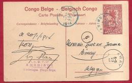 LD-883   PW     KABINDA  -KATANGA    JANV  1914   via  KINSHASSA   FEVR 1914    naar     AMAY   BELGIQUE  MARS  1914