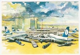 CPM BRUSSEL BRUXELLES National Airport Aéroport Carte Publicité SABENA Airlines Illustrateur Avions BOEING Airplanes - Bruxelles National - Aéroport