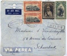 C2482-Belgian Congo-Coffee ad on airmail front cover to Brussels, Belgium-193?