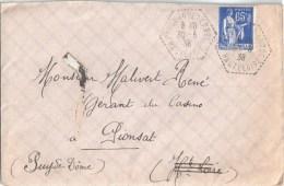 3310 PAULHAGUET CP N° 5 Haute Loire Paix 65c Bleu Yv 365 Ob 1938 Hexagone Pointillé Poste Auto Rurale Lautier G4 - Postmark Collection (Covers)