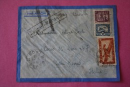 1938 RARE CAD PAKSE LAOS GRIFFE LINEAIRE SAIGON/MARSEILLE /AVION COCHINCHINE -INDOCHINE MANDAT FRANCAIS >SAN-REMO ITALIA - Briefe U. Dokumente