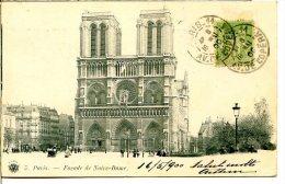 75004 PARIS - Façade De Notre-Dame - éditeur Massias - Postée 16 Mai 1900 - Arrondissement: 04