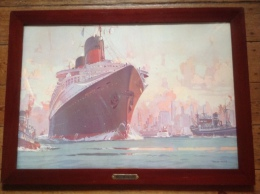 The S.S. Normandie In New York Harbor, After Marin Marie.Original  Company Poster In Colors Cie Gale Transatlantique - Arte