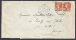 GERS - Cachet Hexagonal Pointillé De  ISLE JOURDAIN  C.P. N° 7 - Postmark Collection (Covers)