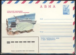 RUSSIA USSR Stamped Stationery Ganzsache 14873 1981.03.20 Air Mail NOVOROSIJSK Hero City Monument To Marine Troops Ship - 1980-91