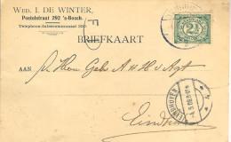 1908  Langebalk 's-Hertogenbosch 2  En Lb Eindhoven 4  Op Firmakaart - Periode 1891-1948 (Wilhelmina)
