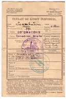 Extrait Du Livret Individuel Militaire  20e Dragons (PPP1235) - Vieux Papiers