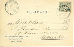 1905 Grootrond Delft En Utrecht Op Firmakaart Naar Utrecht - Periode 1891-1948 (Wilhelmina)