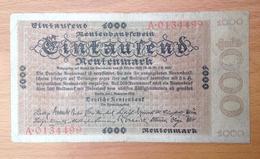 Germany 1000 Rentenmark - [ 3] 1918-1933 : Weimar Republic