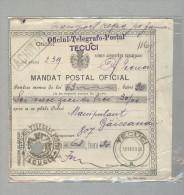 TECUCI...MANDAT POSTAL 18-02-1909...OFICIUL TELEGRAFO POSTAL..ROMANIA - Storia Postale