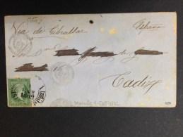 Carta De Manila A Cadiz 1862 Via Gibraltar Al Dorso Matasellos Algeciras Y Cadiz - Filipinas