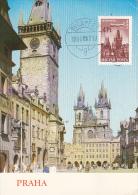 PRAGUE-OLD TOWN SQUARE WITH ASTRONOMICAL CLOCK, TYN CHURCH, CM, MAXICARD, CARTES MAXIMUM, 1966, HUNGARY - Tarjetas – Máximo