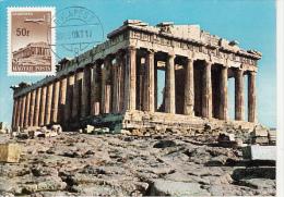 ATHENS-THE PARTHENON, ANCIENT RUINS, PLANE, CM, MAXICARD, CARTES MAXIMUM,1966, HUNGARY - Tarjetas – Máximo