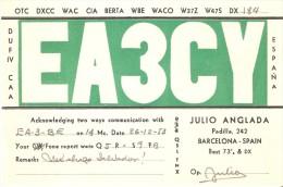 QSL POSTAL DE RADIO AFICIONADO DE BARCELONA DEL AÑO 1953 (SPANISH RADIO STATION) - Radio Amateur