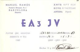 QSL POSTAL DE RADIO AFICIONADO DE BARCELONA DEL AÑO 1954 (SPANISH RADIO STATION) - Radio Amateur