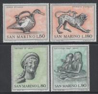 San Marino 1971 Archaeology Objects Sculptures Animals Duck Bird  Lion Etruscan Art 1st Series Stamps MNH Michel 980-983 - Archaeology