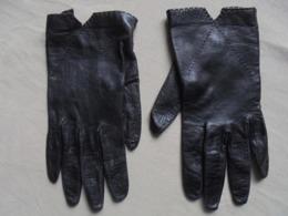 Ancien - Paire De Gants Pour Femme En Peau/cuir Noir - Vintage Clothes & Linen