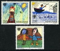 Faroe Islands 1979 International Year Of Child IYC Children Art Drawings Fishing Celebrations Stamps MNH Michel 45-47 - Organizations